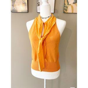 Moschino Orange Tie Front Blouse